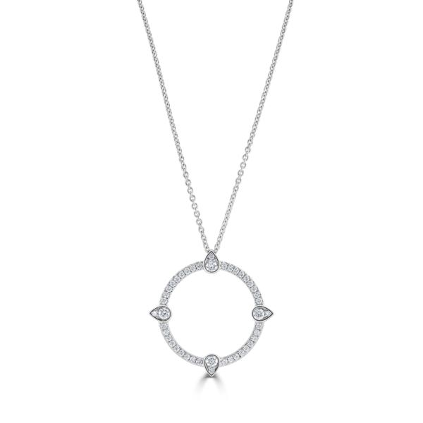Compass White Gold Large Diamond Pendant
