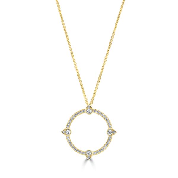 Compass Yellow Gold Large Diamond Pendant