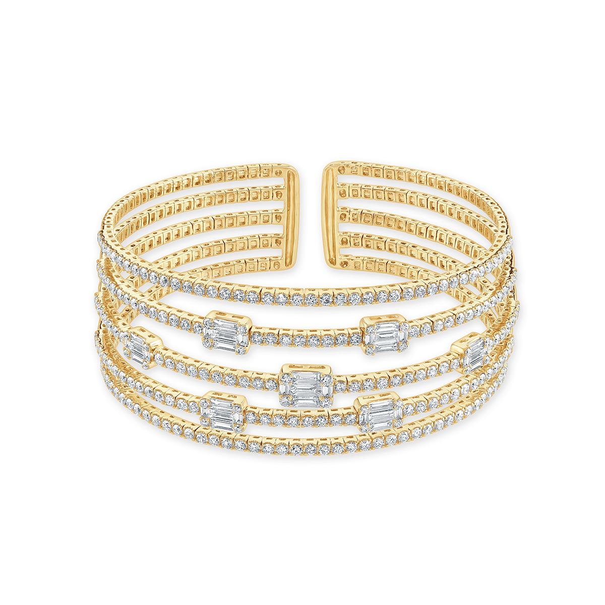 Rose Gold Multi-Row Diamond Bangle