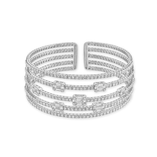 White Gold Multi-Row Diamond Bangle