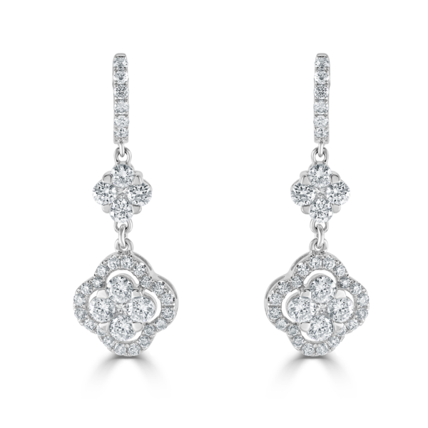 White Gold Diamond Cluster Drop Earrings