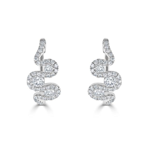 Meander White Gold Diamond Earrings