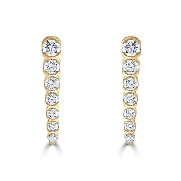 Yellow Gold Diamond Cascading Drop Earrings
