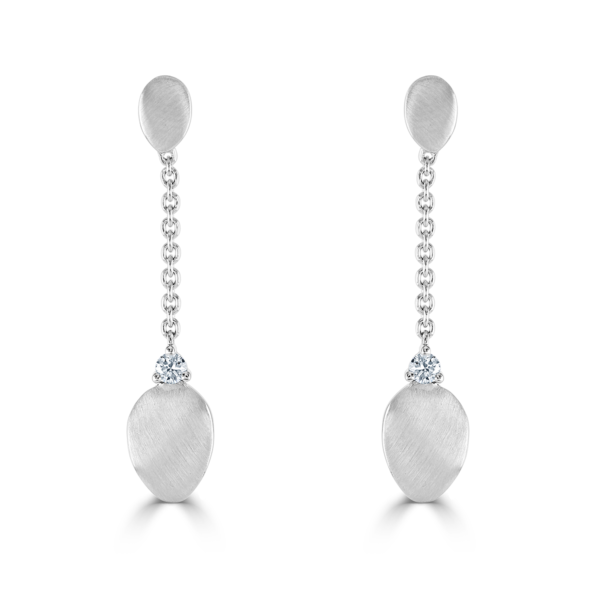 Stepping Stone White Gold Drop Earrings