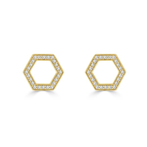 Honeycomb Yellow Gold Diamond Stud Earrings