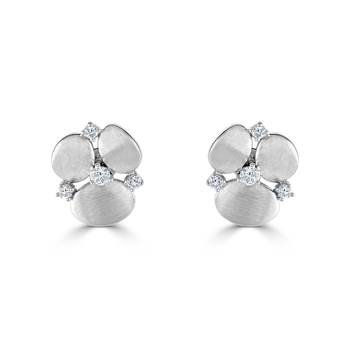 Stepping Stone White Gold Earrings