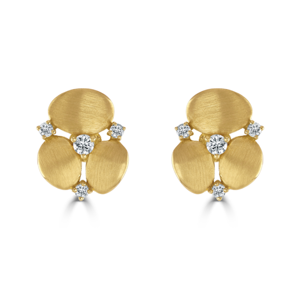 Stepping Stone Yellow Gold Earrings