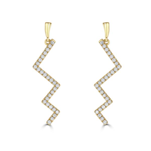Lightning Yellow Gold Diamond Earrings