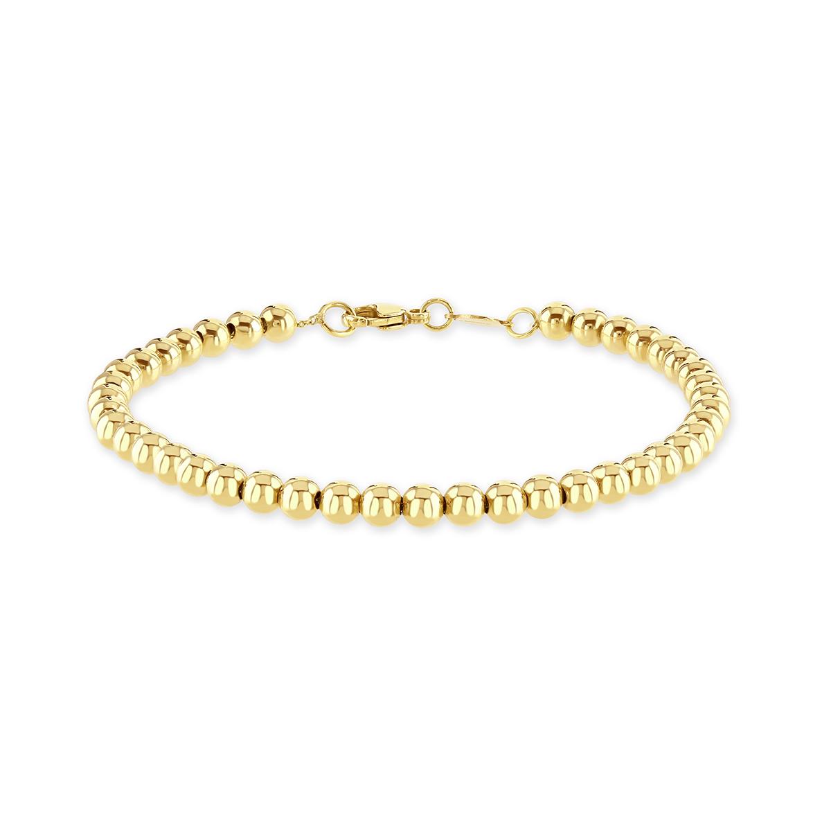 Yellow Gold Polished Bead Bracelet