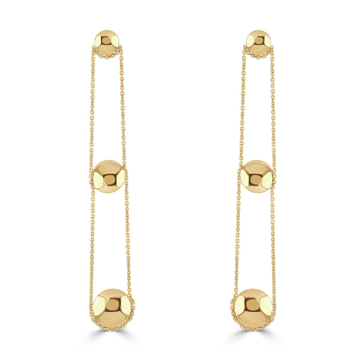 Giallo Sphere Yellow Gold Drop Earrings