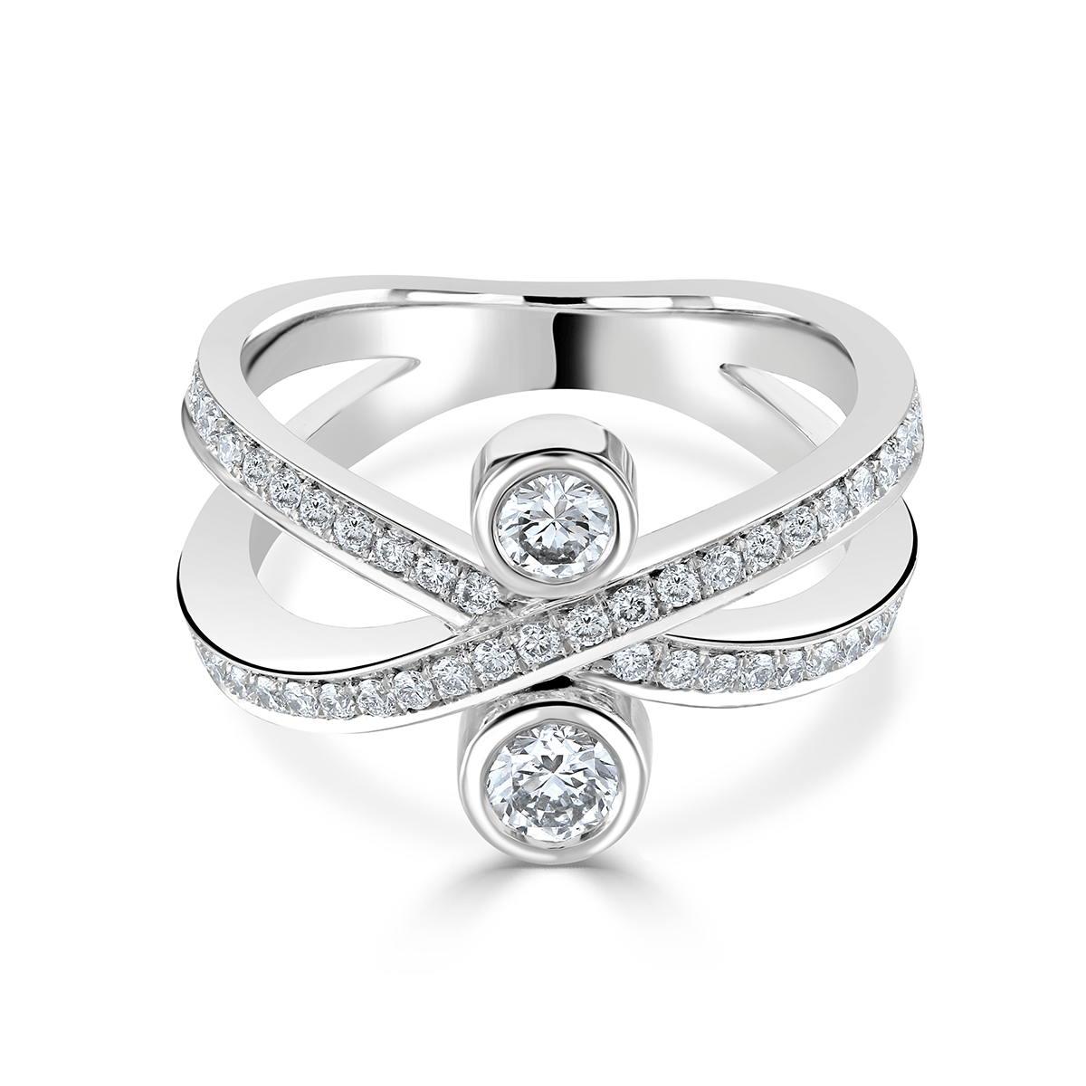 Lunar Platinum Diamond Crossover Ring