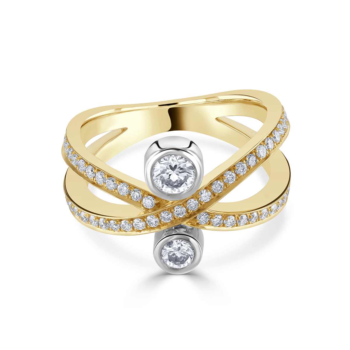 Lunar Yellow Gold and Platinum Diamond Crossover Ring