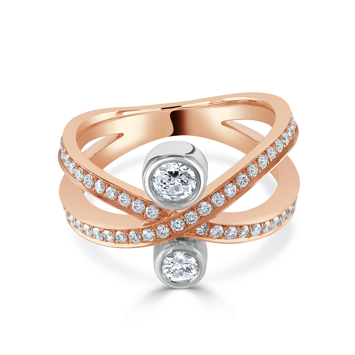 Lunar Rose Gold and Platinum Diamond Crossover Ring
