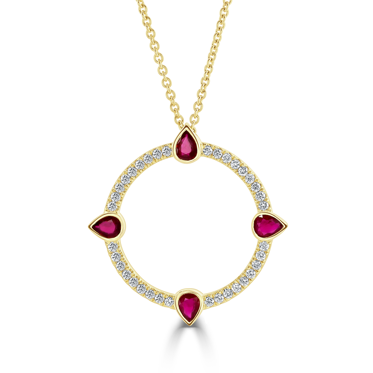 Compass Yellow Gold Large Diamond and Ruby Pendant