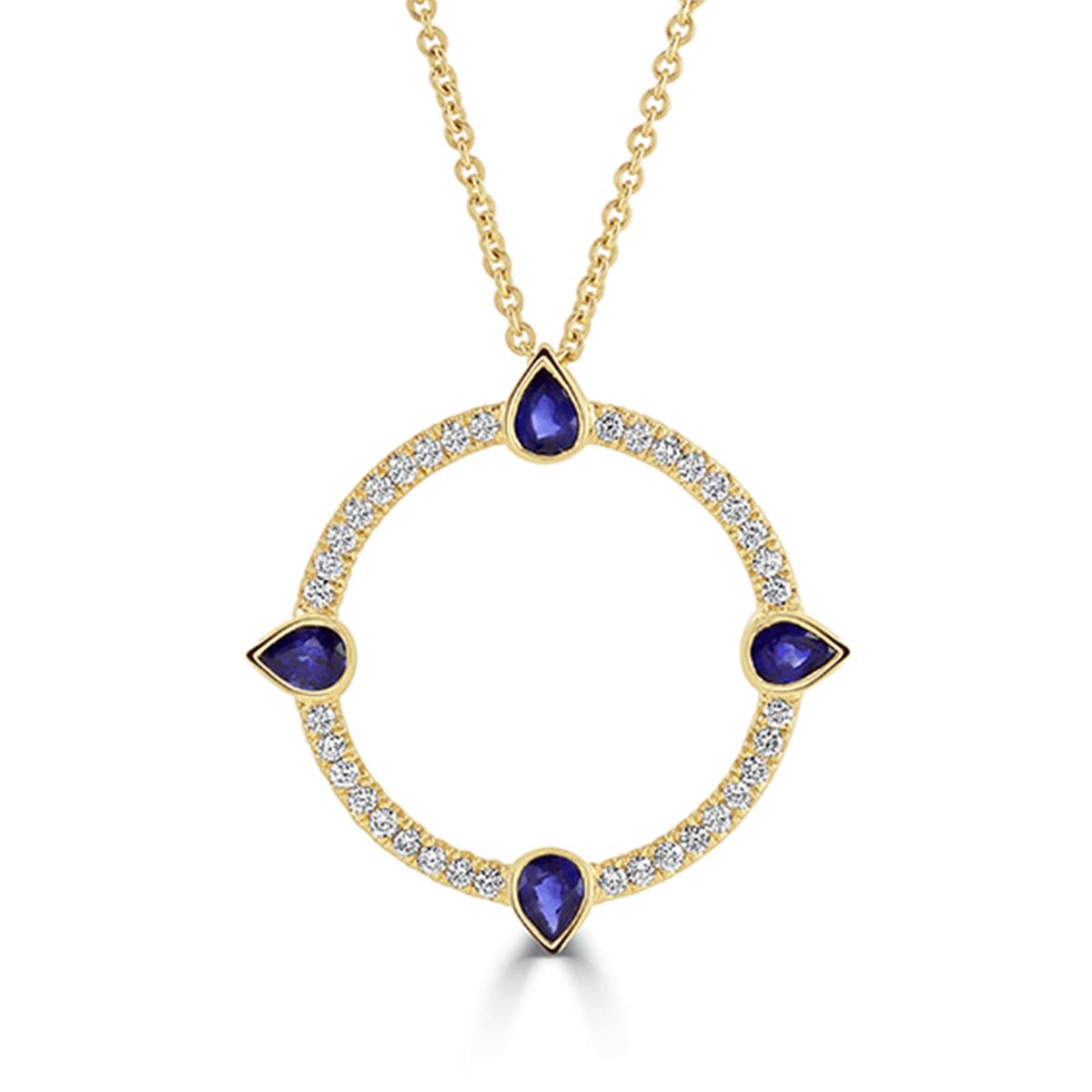 Compass Yellow Gold Large Diamond and Sapphire Pendant