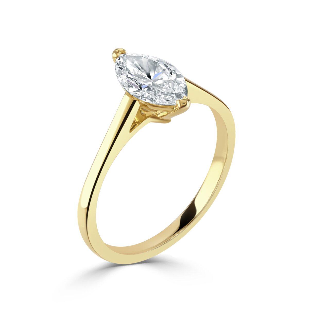Marquise Cut Yellow Gold Diamond Ring