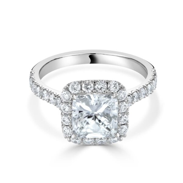 Cushion Cut Platinum Diamond Halo Ring