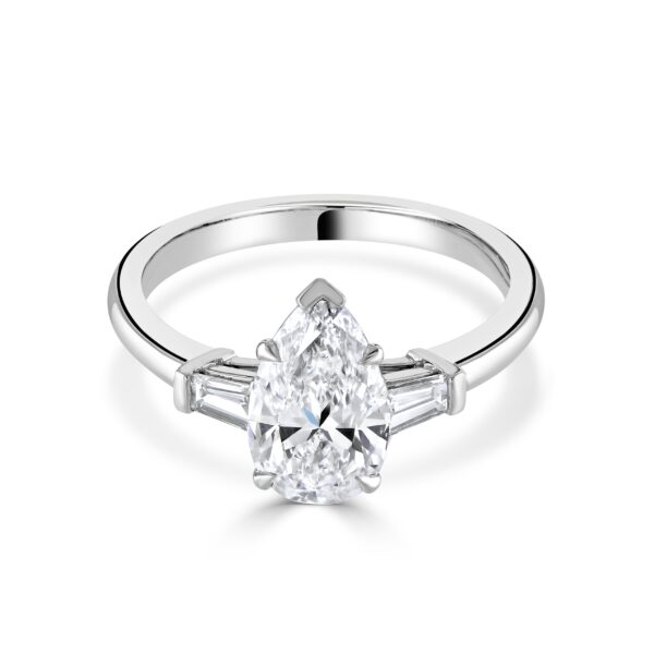 Three Stone Pear and Baguette Cut Platinum Diamond Ring