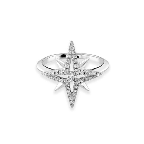White Gold Star Diamond Ring
