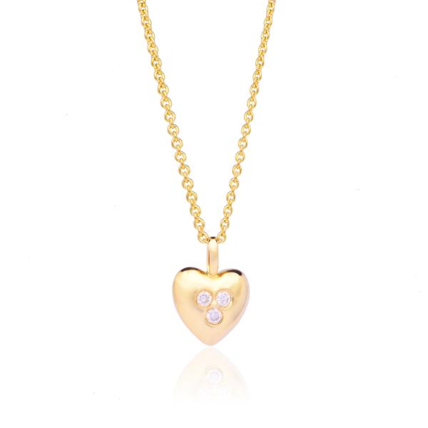 Yellow Gold Diamond Heart Pendant