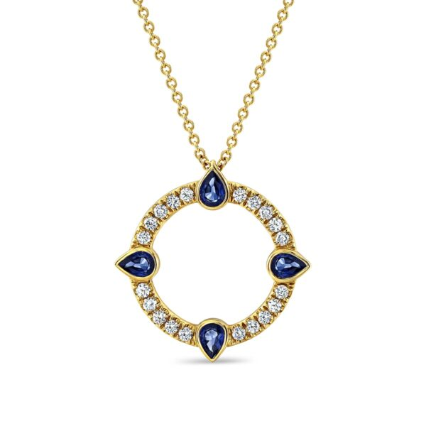 Compass Yellow Gold Sapphire Diamond Pendant