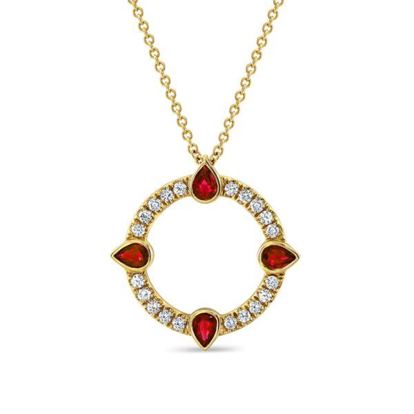 Compass Yellow Gold Ruby Diamond Pendant
