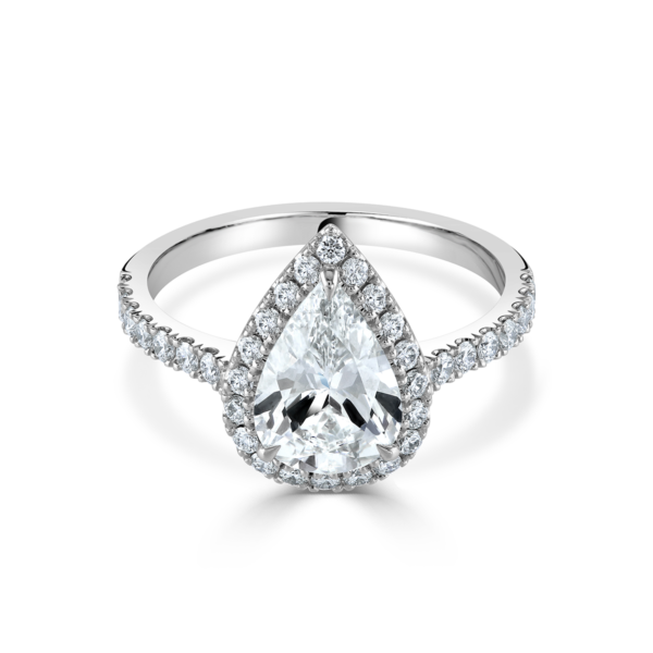 Pear Shaped Platinum Diamond Ring