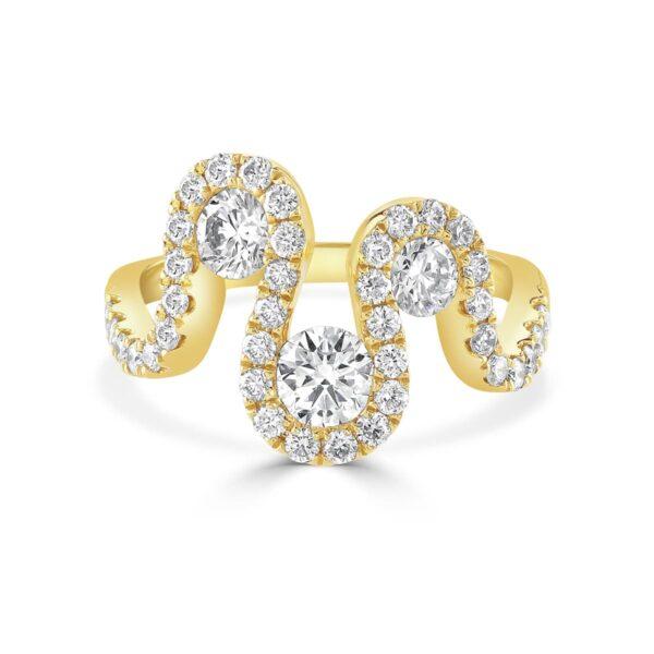 Meander Yellow Gold Brilliant Cut Diamond Ring