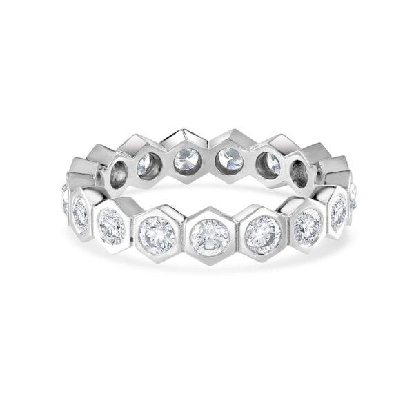 Honeycomb White Gold Diamond Stacking Ring