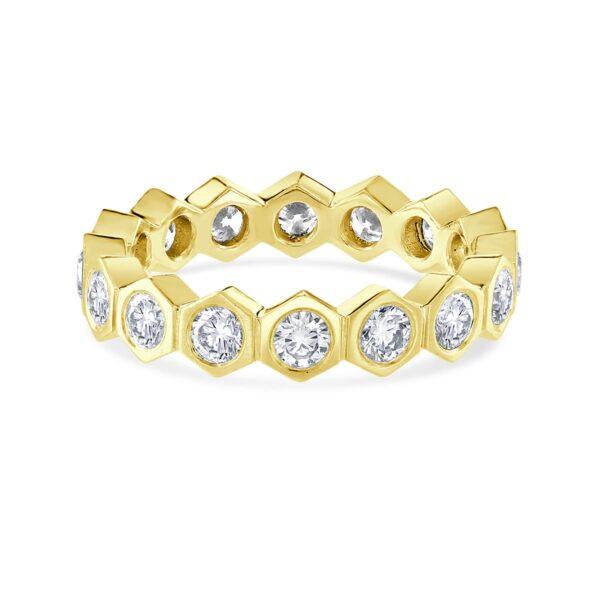 Honeycomb Yellow Gold Diamond Stacking Ring