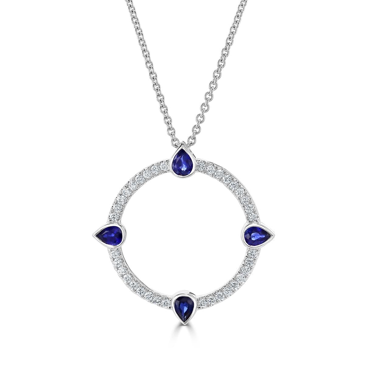 Compass White Gold Sapphire Diamond Pendant
