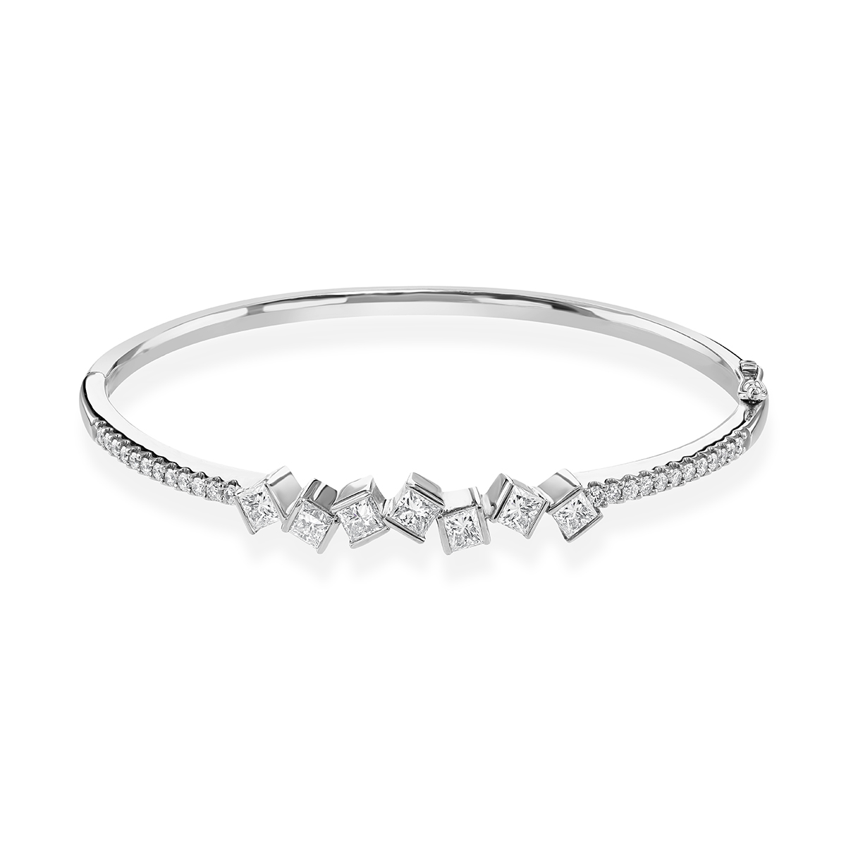 Hopscotch White Gold Diamond Bangle