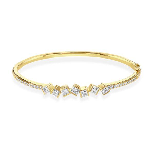 Hopscotch Yellow Gold Diamond Bangle