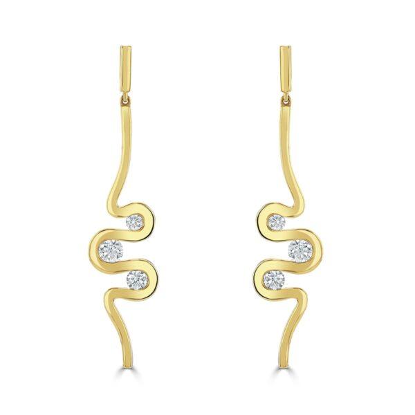 Meander Rose Gold Diamond Earrings