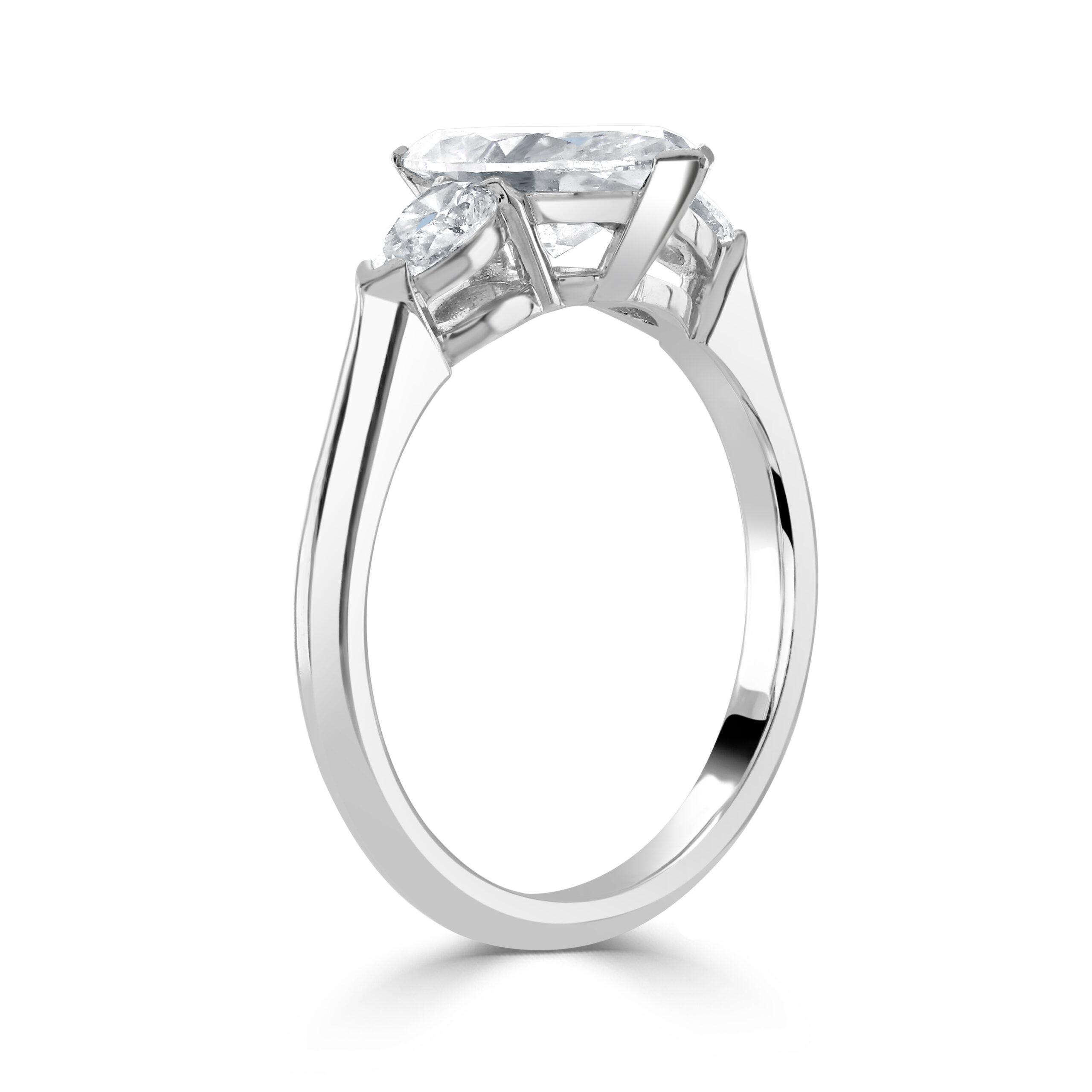 Marquise Cut Platinum Diamond Trilogy Ring