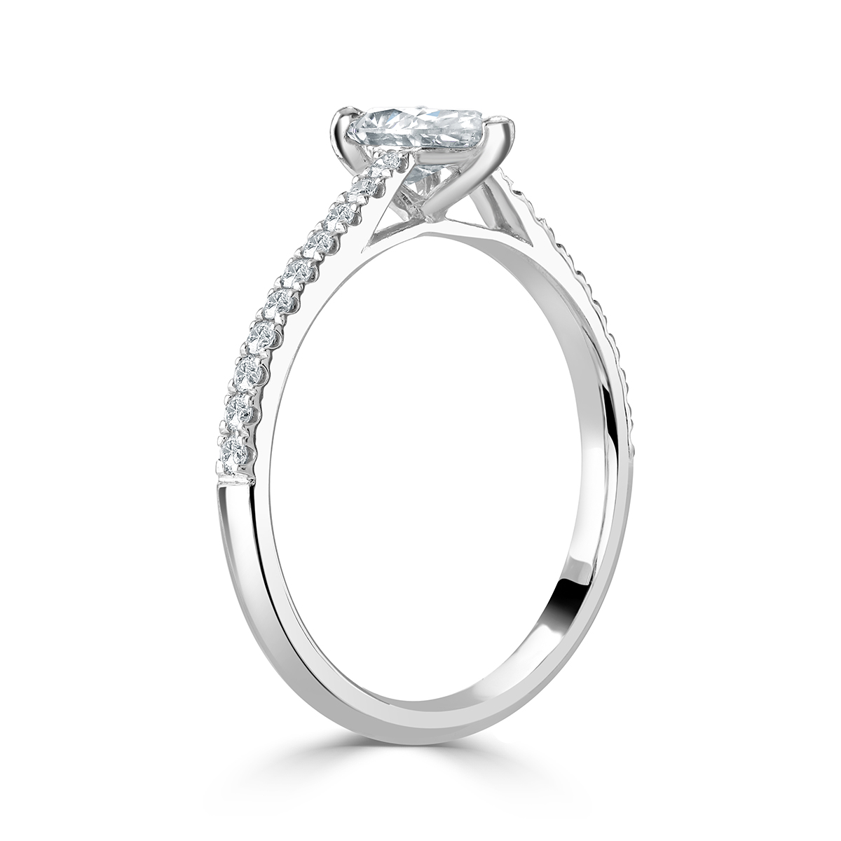Pear Shaped Diamond Platinum Ring