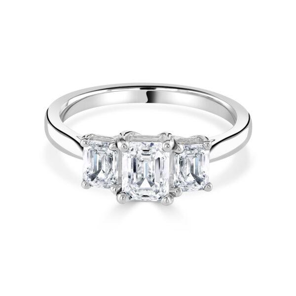 Emerald Cut Trilogy Engagement Ring