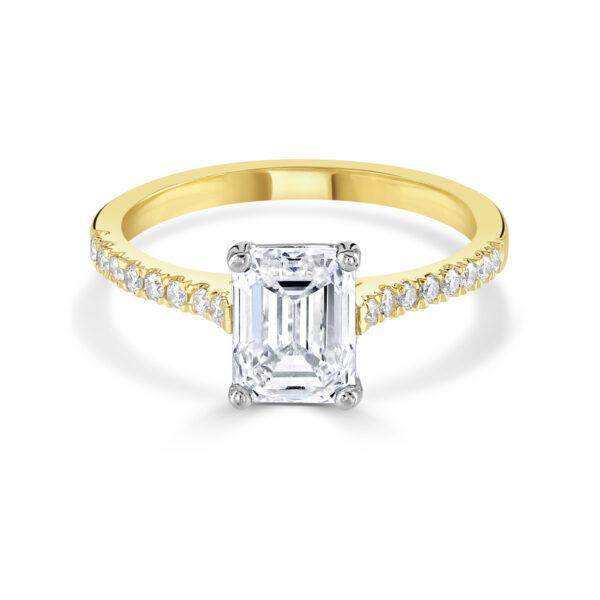 Emerald Cut Yellow Gold Diamond Engagement Ring
