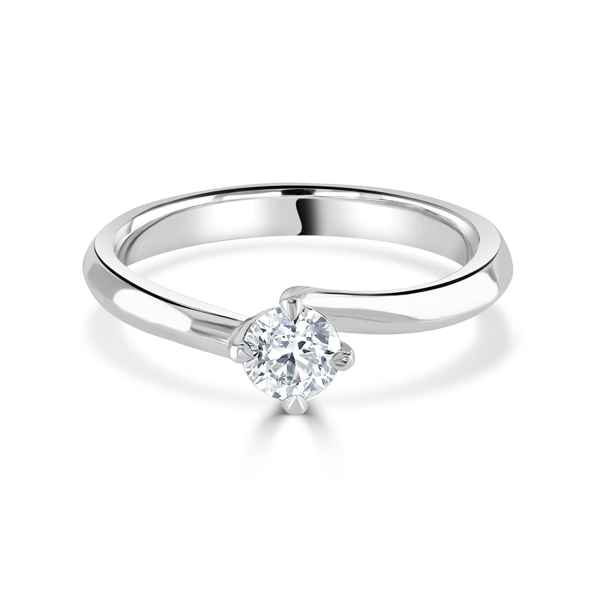 """Round Brilliant Cut Platinum Diamond """"Twist"""" Ring"""