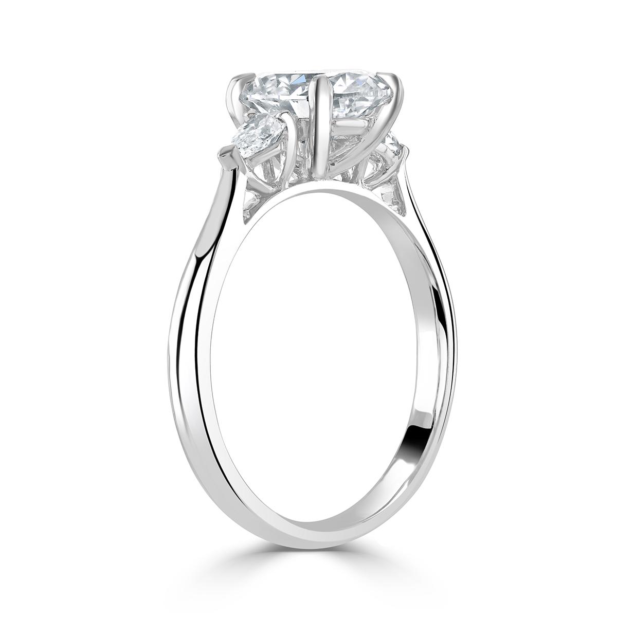 Oval Cut Platinum Diamond Trilogy Ring