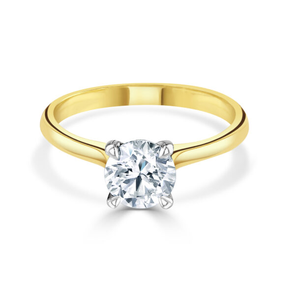 Round Brilliant Cut Diamond Yellow Gold Ring