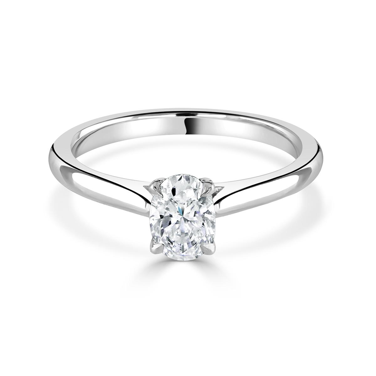 Oval Cut Platinum Diamond Ring