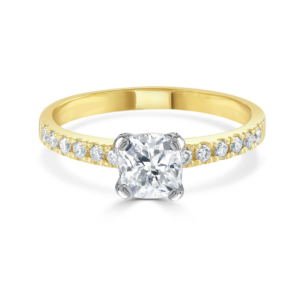 Cushion Cut Yellow Gold Diamond Ring
