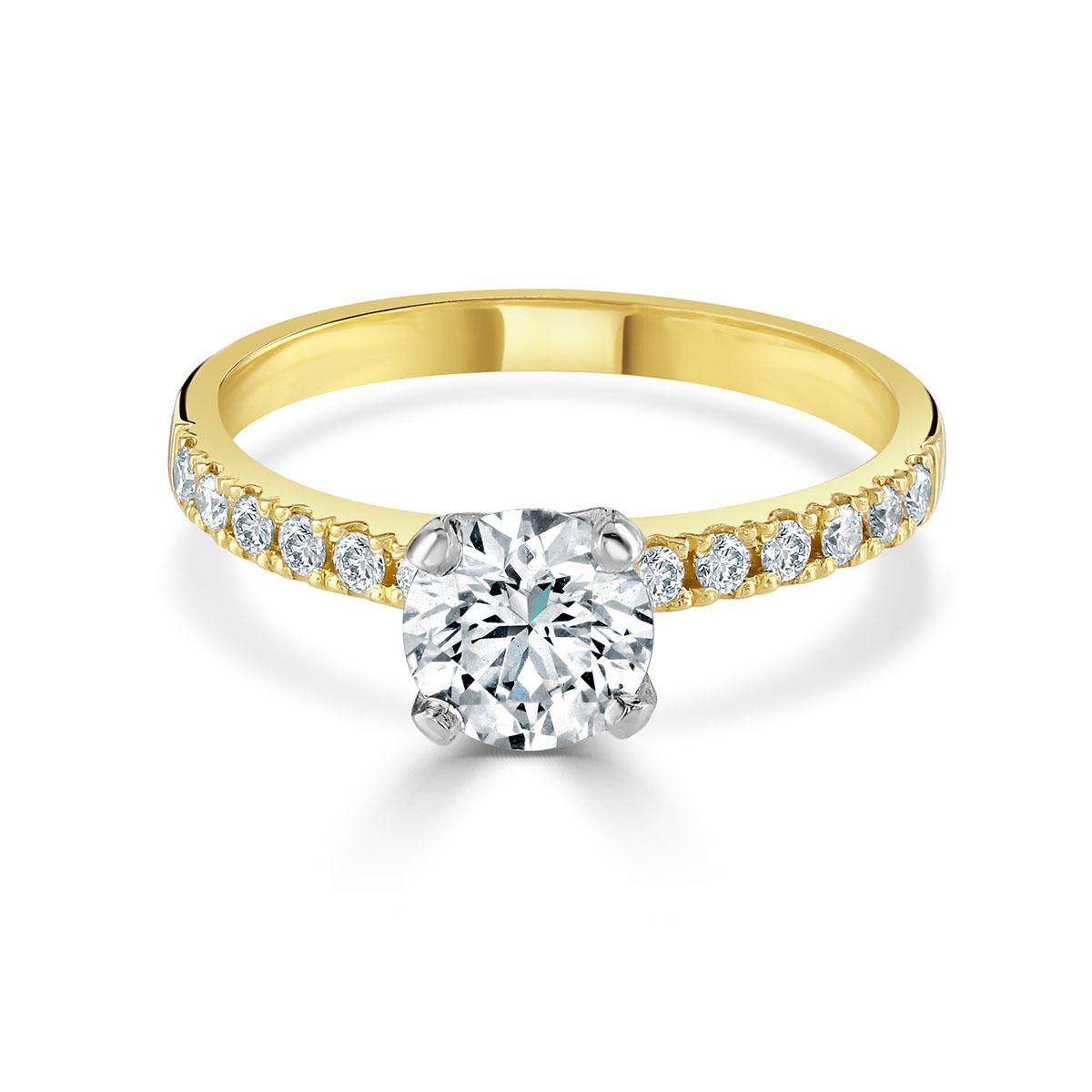 Round Brilliant Cut Yellow Gold Diamond Ring