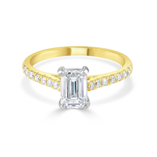 Emerald Cut Yellow Gold Diamond Ring with Diamond set shoulders