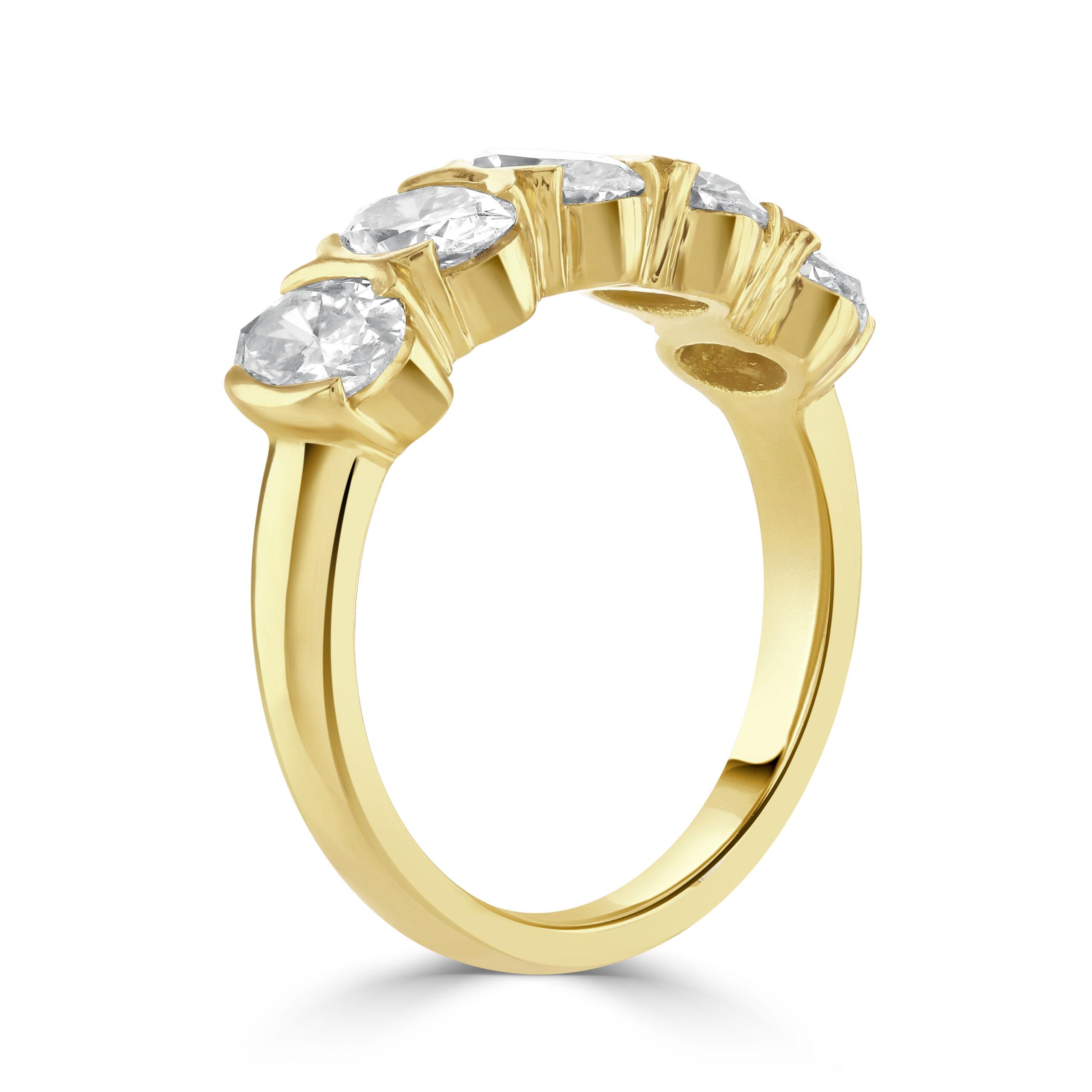 Oval Cut Yellow Gold Diamond Eternity Ring