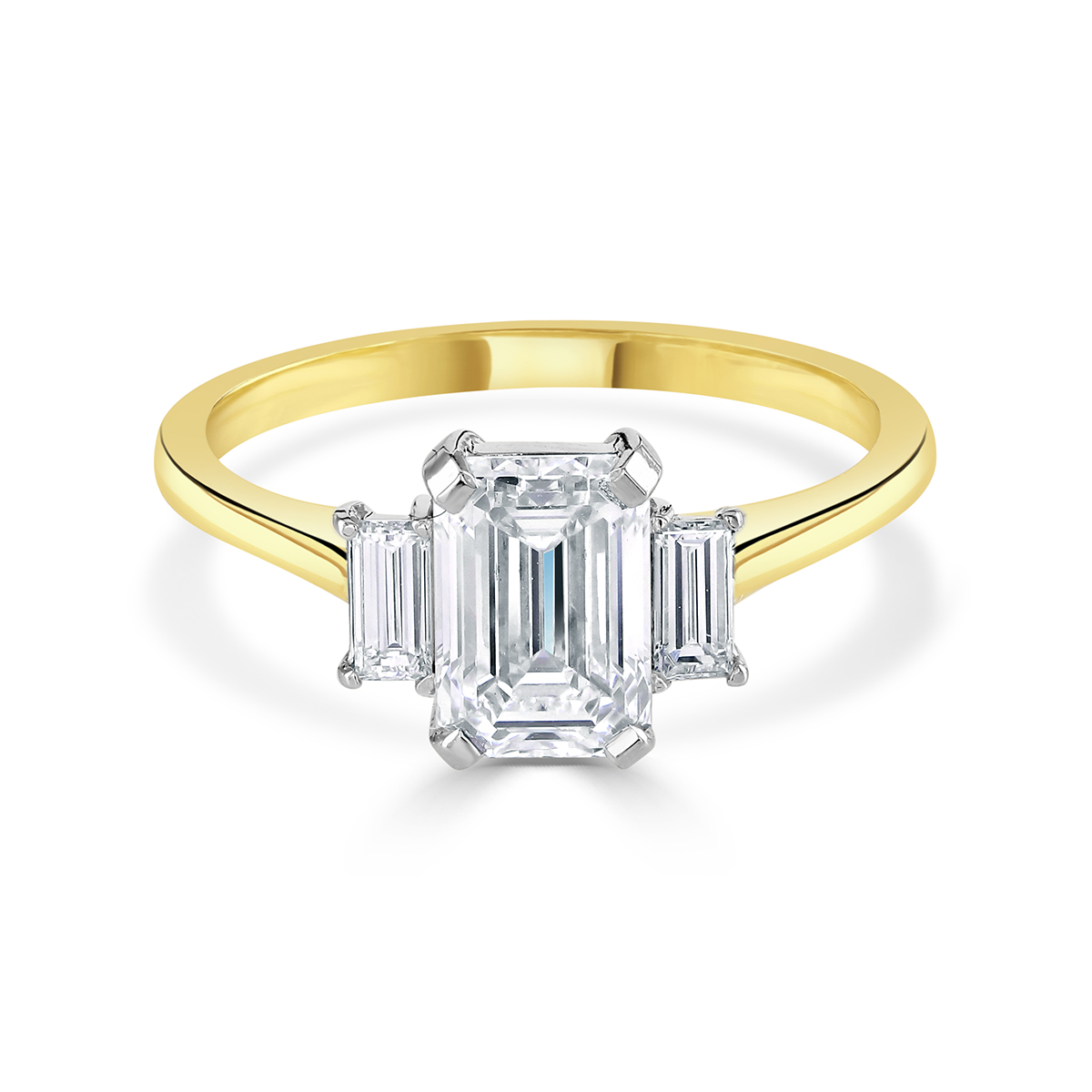 Emerald Cut Yellow Gold Trilogy Ring