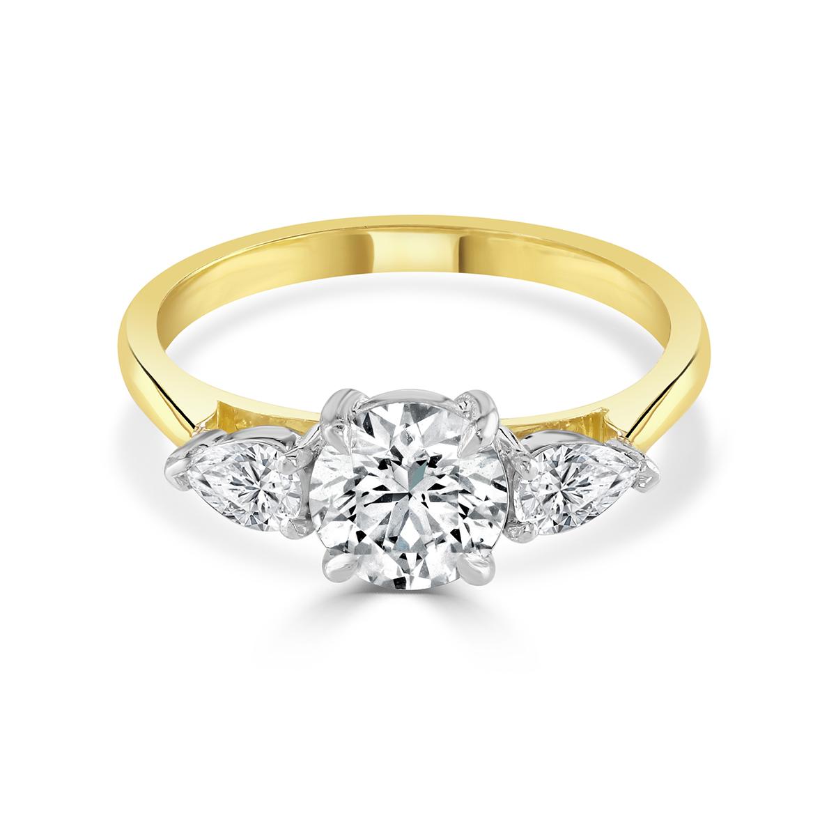 Round Brilliant Cut Yellow Gold Diamond Trilogy Ring