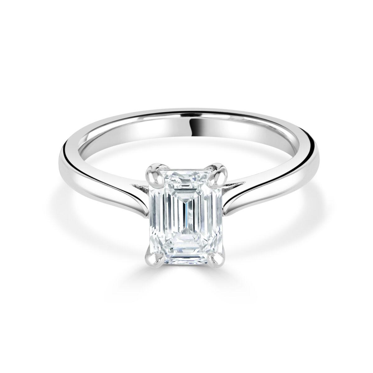 Emerald Cut Platinum Diamond Ring