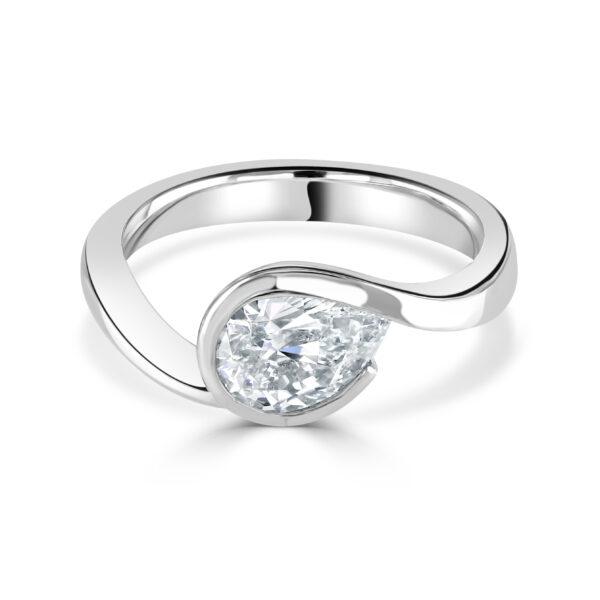 """Pear Cut Platinum Diamond """"Twist"""" Ring"""